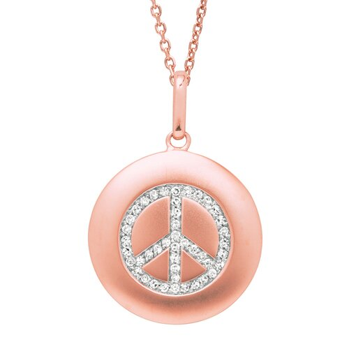 Silver on the Rocks Round Peace Sign Pendant in Rose Gold