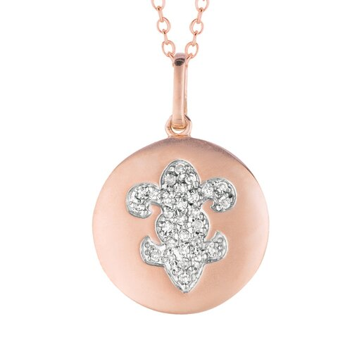 Silver on the Rocks 14k Gold 0.15ct TDW Diamond Round Fleur De Lis Disc Pendant