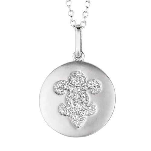 Silver on the Rocks Round Fleur De Lis Pendant in Silver