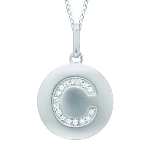 Silver on the Rocks Round Initial C Pendant in Silver