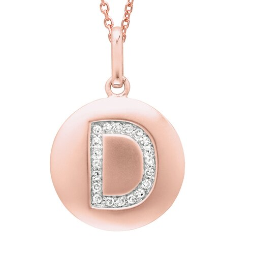 Silver on the Rocks Round Initial D Pendant in Rose Gold