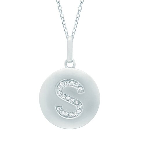 Silver on the Rocks Round Initial S Pendant in Silver