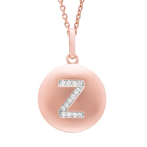 Silver on the Rocks Round Initial Z Pendant in Rose Gold