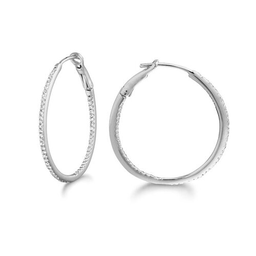 Silver on the Rocks Micro Prong Sterling Silver Diamond 0.26CT Round Hoop Earring