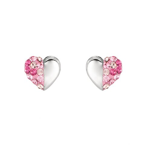 Silver on the Rocks Sterling Silver Crystal Heart Stud Earring