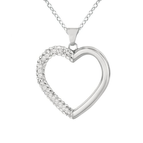 Silver on the Rocks Sterling Silver 71 Crystal Heart Necklaces