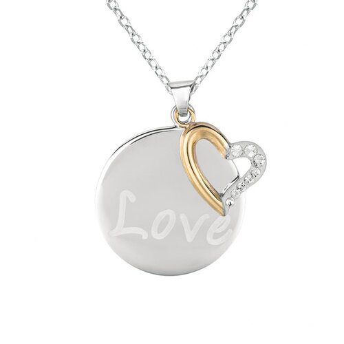 "Silver on the Rocks Crystal Circle with Dangle Heart ""Love"" Necklaces"