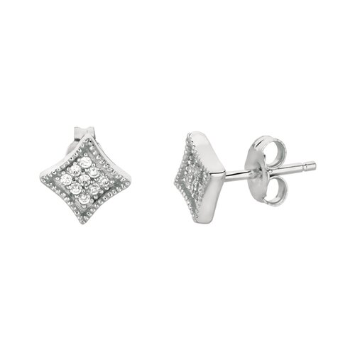 Silver on the Rocks Micro-Set Cubic Zirconium Navette Shape Stud Earring
