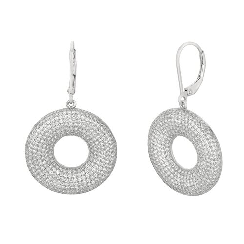 Micro-Set 768 Cubic Zirconium Round Shape Dangle Earring