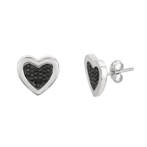 Micro-Set 46 Cubic Zirconium Heart Shape Stud Earring