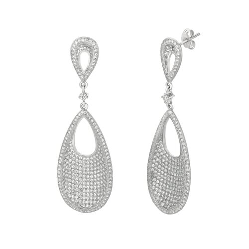 Micro-Set Cubic Zirconium Teardrop Shape Dangle Earring