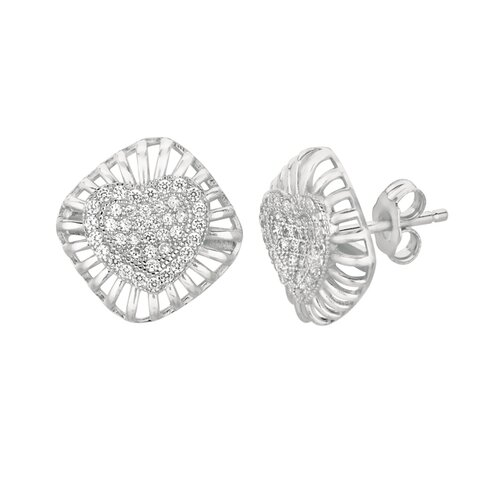Micro-Set Cubic Zirconium Heart in Square Shape Stud Earring