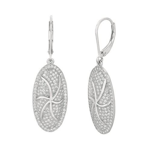 Micro-Set Cubic Zirconium Oval Shape Dangle Earring
