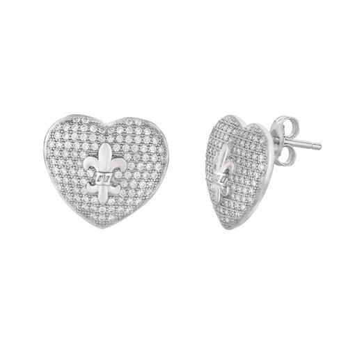 Silver on the Rocks Micro-Set Cubic Zirconium Heart with Fleur De Lis Shape Stud Earring