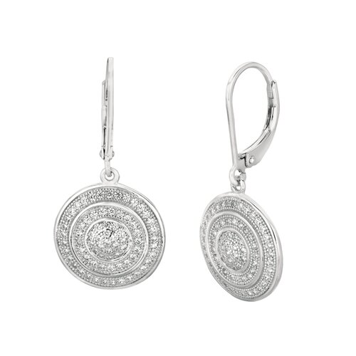 Micro-Set 146 Cubic Zirconium Round Shape Dangle Earring