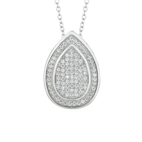 Sterling Silver Micro-Set Cubic Zirconium Teardrop Necklaces