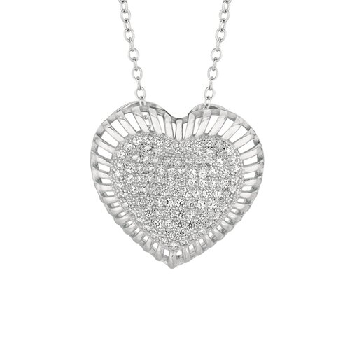 Sterling silver micro-set Cubic Zirconium Heart in Heart Necklaces