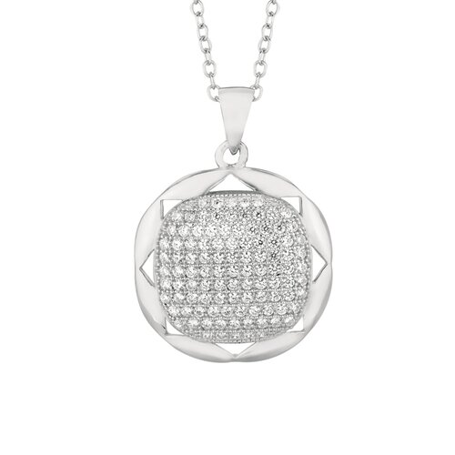 Silver on the Rocks Sterling Silver Micro-Set 103 Cubic Zirconium Round Necklaces