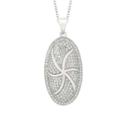 Sterling Silver Micro-Set Cubic Zirconium Oval Necklaces