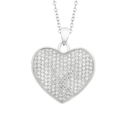 Sterling Silver Micro-Set White Cubic Zirconium Heart Necklaces
