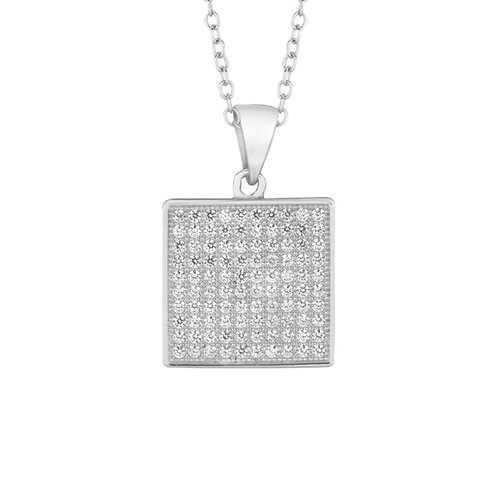 Sterling Silver Micro-Set 100 Cubic Zirconium Square Necklaces