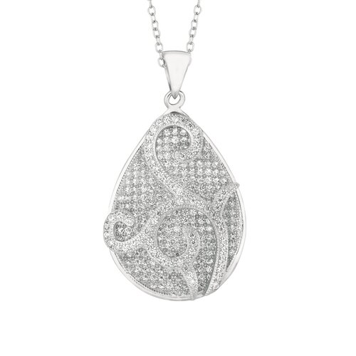 Sterling Silver Micro-Set 322 Cubic Zirconium Teardrop Necklaces