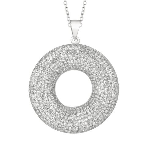 Sterling Silver Micro-Set 601 Cubic Zirconium Circle Necklaces
