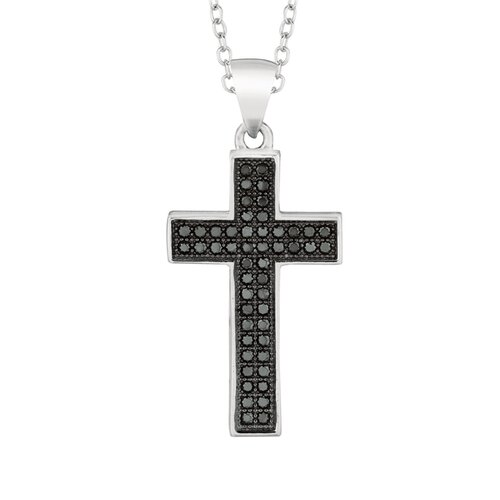 Silver on the Rocks Sterling Silver Micro-Set 50 Cubic Zirconium Cross Necklaces
