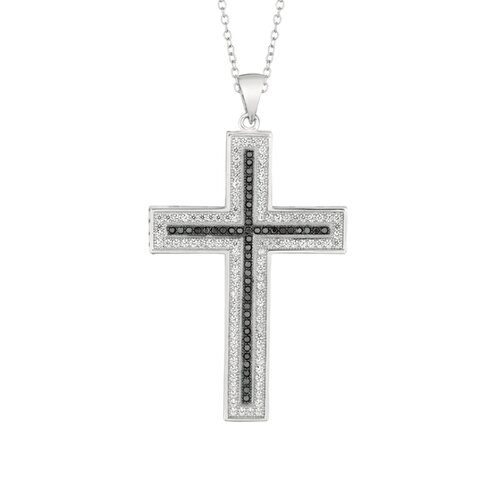 Silver on the Rocks Sterling Silver Micro-Set Cubic Zirconium Cross Necklaces