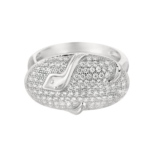 Silver on the Rocks Sterling Silver Micro-Set Cubic Zirconium Oval with Snake Fashion Ring