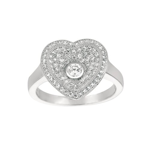 Silver on the Rocks Sterling Silver Micro-Set Cubic Zirconium Heart Fashion Ring