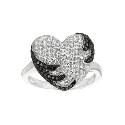 Silver on the Rocks Sterling Silver Micro-Set 140 Cubic Zirconium Heart Fashion Ring