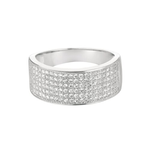 Silver on the Rocks Sterling Silver Micro-Set 138 Cubic Zirconium Band Fashion Ring