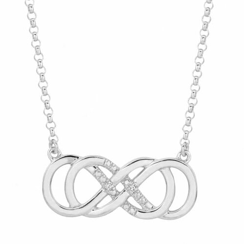 Sterling Silver Diamond Double Infinity Necklace