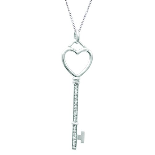 "Juliette Collection 0.47"" Heart Key Pendant in White Gold"
