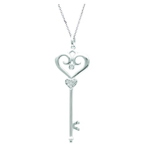 "Juliette Collection 0.51"" Fleur De Lis Pendant in White Gold"