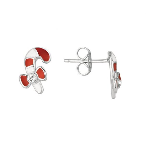 Juliette Collection Sterling Silver and Enamel Candy Cane Earring