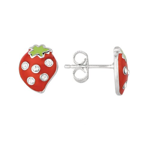 Juliette Collection Sterling Silver and Enamel Strawberry Earring