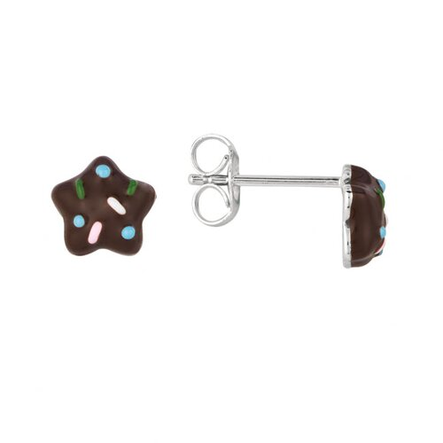Juliette Collection Sterling Silver and Enamel Star Cookie Earring