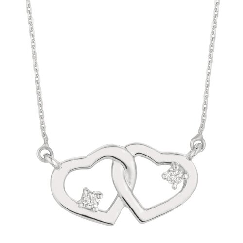 White Gold Diamond Double Heart Necklace