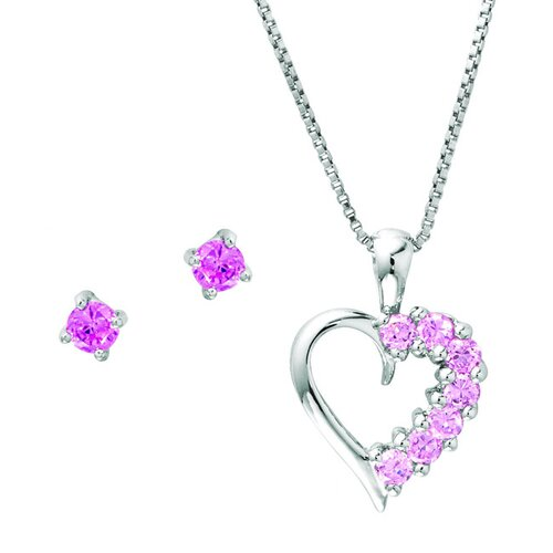 Sterling Silver Heart Aquamarine Jewelry Set