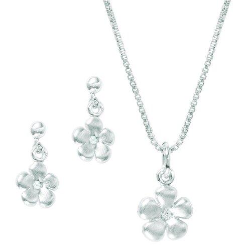 Sterling Silver Flower Diamond Jewelry Set