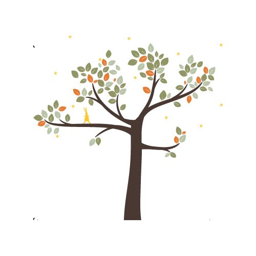 LittleLion Studio Trees Follow the Little Rabbit Wall Decal