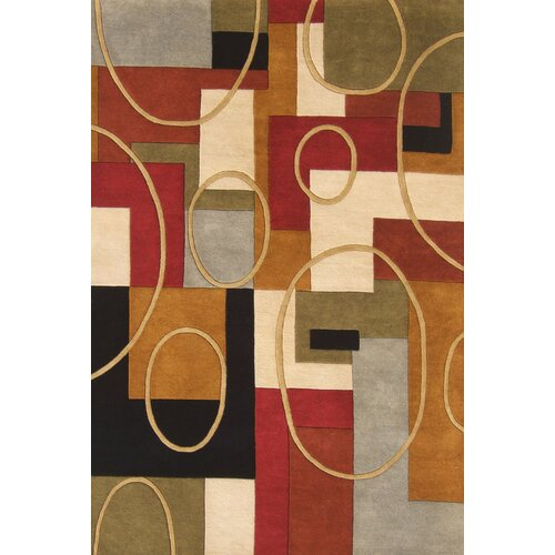 Alliyah Rust/Red Geometric Rug