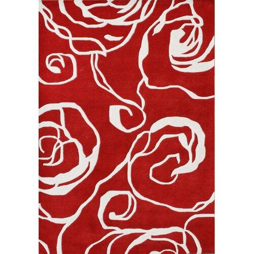 Alliyah Rugs New Delhi Geometric Ivory/Red Rug
