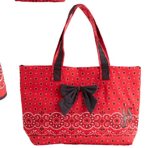 Jessie Steele Red Bandana Bow Tote Bag