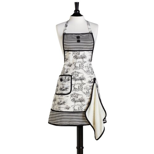 French Toile Bib Gigi Apron with Terry Towel