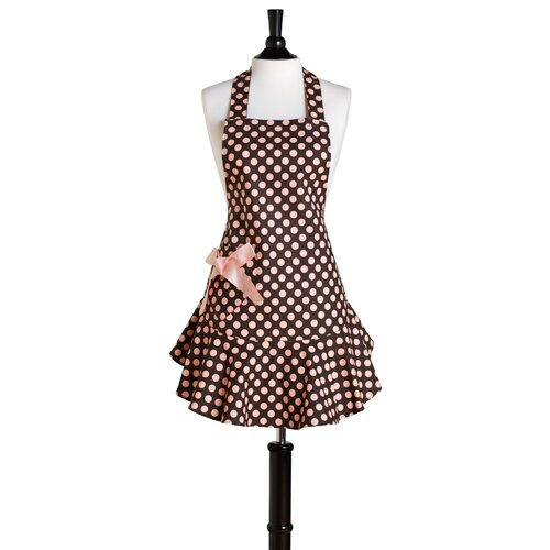 Jessie Steele Brown and Pink Polka Dot Bib Josephine Apron