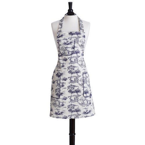 Navy French Toile Bib Chef Apron