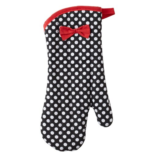 Jessie Steele Black and White Deco Dot Oven Mitt with Bow